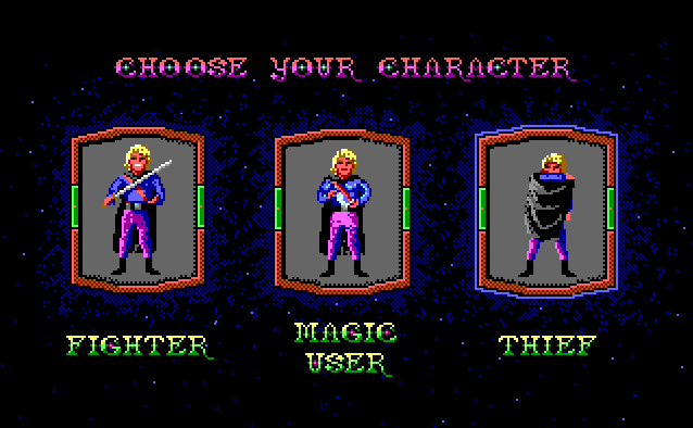 Hero's Quest character class selection, 1989